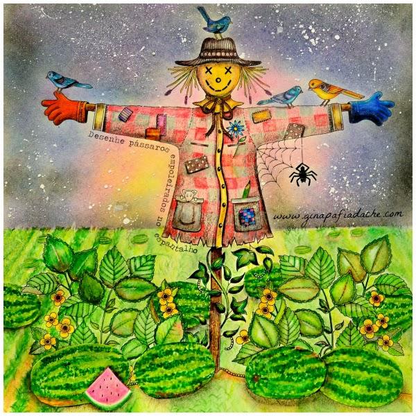 Jardim Secreto  Secret Garden  Espantalho com melancias!