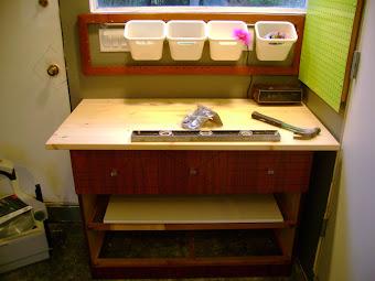 Turning a teak veneer dresser into a work bench
