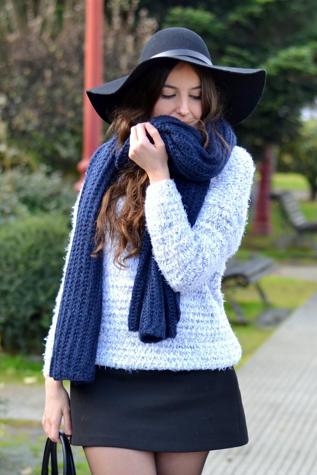 blue scarf adolfo dominguez, fuzzy sweater