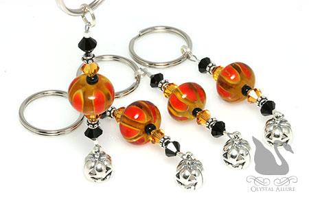 Barb's Custom Pumpkin Lampwork Beaded Key Chains (K103)