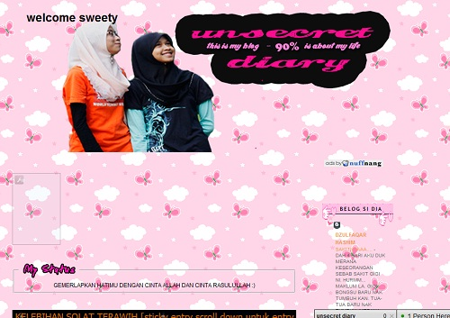 unsecret diary,blog pinky,blog comel