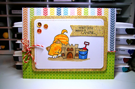 Wish you were here beach card by Zoey & the Furballs | Newton's Nook Designs stamps