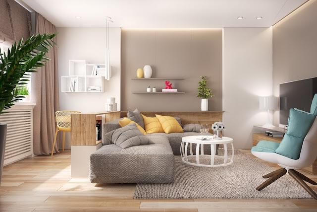 interior rumah dengan aksen warna kuning