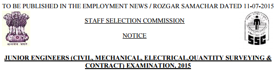SSC Recruitment 2015-1000 Junior Engineer Posts Apply ssconline.nic.in