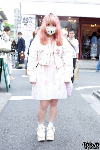 pizza-kei cute pizza fairy kei fairy-kei spring trends fashion j-fashion japanese fashion alternative alt-fashion kawaii cult party key pastel 2013 platform shoes street style japan oversize button tokyo bopper white jacket pink dress mask pink hair