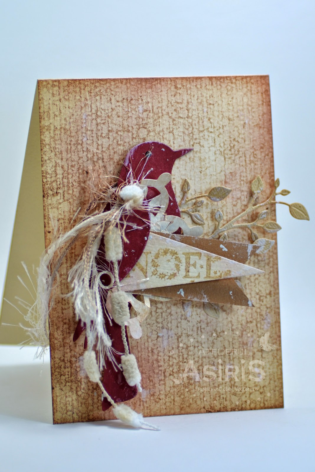 Christmas Handmade Card with Bordeaux Bird