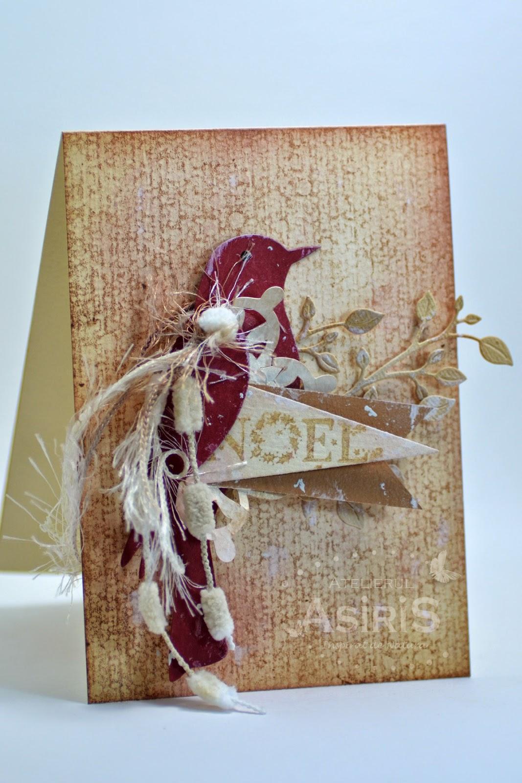 Christmas Handmade Card with Bordeaux Bird