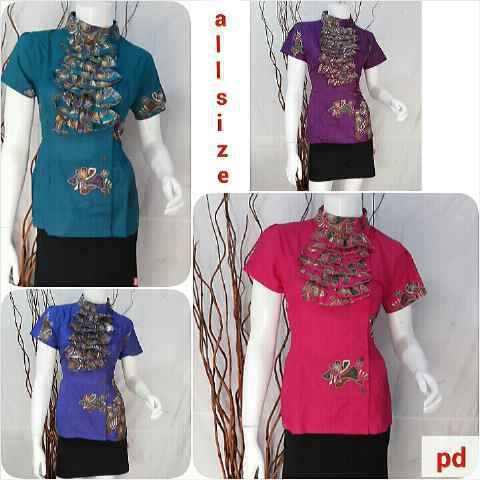 Baju Batik Blus Atasan Lengan Pendek Busana Baju Batik