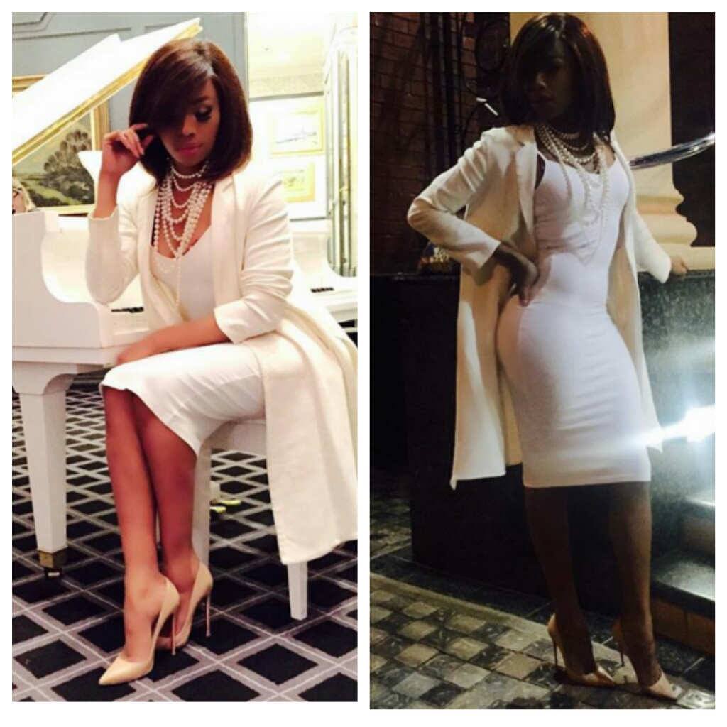 Chechesmithnation Bonang Matheba Struck A Pose In An All White Ensemble
