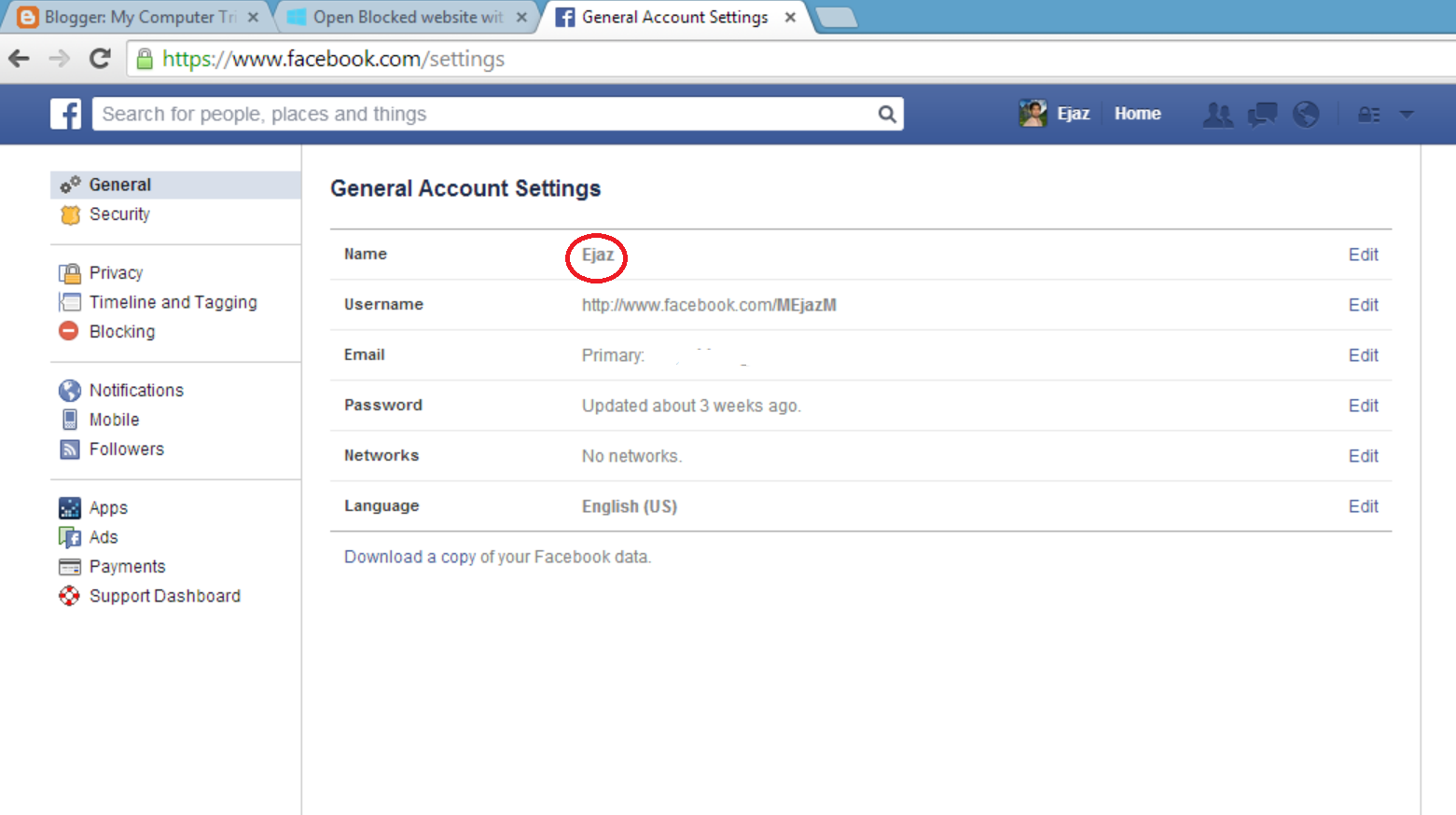 how to delete log in name for facebook