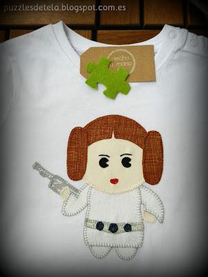 Star Wars, el despertar de la fuerza, patchwork, patchwork Star Wars, Star Wars el despertar de la fuerza, camistas patchwork, camisetas patchwork Star wars, salón del cómic,Hecho a mano, handmade, princesa Leia,