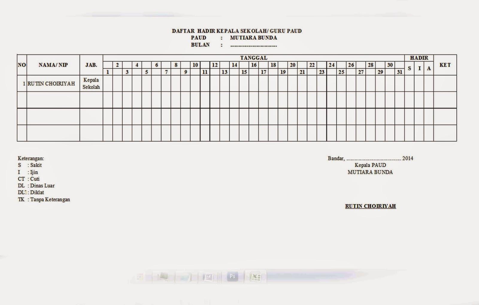 Daftar Hadir Harian Kepala Sekolah/ Guru PAUD ~ Laverpool ...