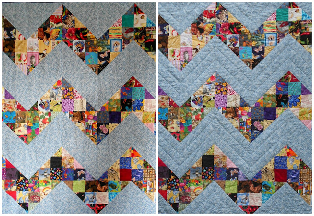 scrappy I Spy chevron quilt