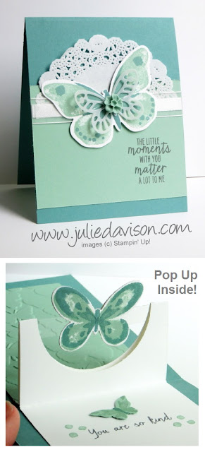 VIDEO & PDF Tutorial for Half Circle Pop Up card featuring Stampin' Up! Watercolor Wings stamp set #stampinup www.juliedavison.com