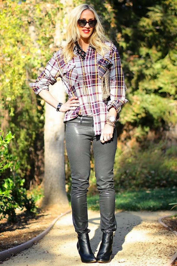 plaid with leather pants