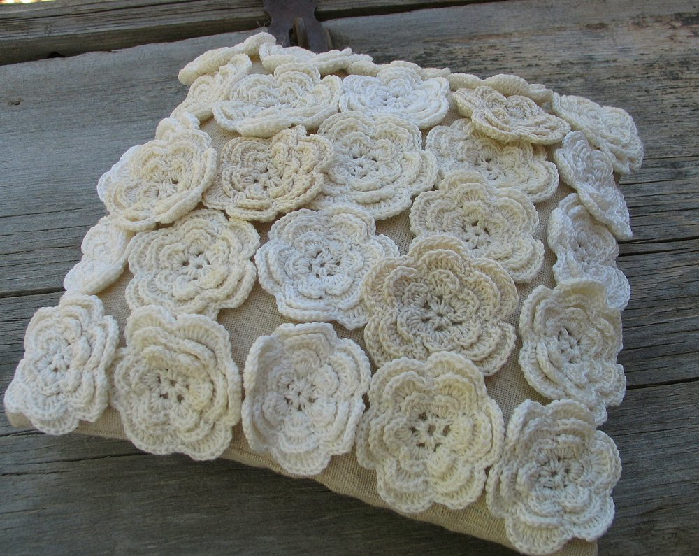 Crochet Pillow : Wild Rose Vintage: Crochet Flower Pillow and Yard Sale Treasures