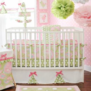 dormitorio rosa y verde