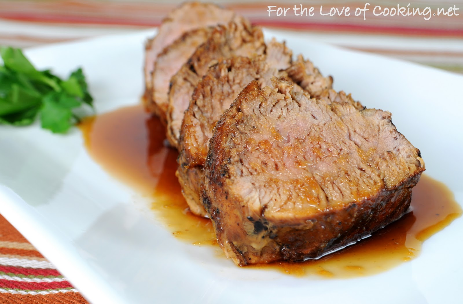 Pan Grilled Ginger-Honey Pork Tenderloin | For the Love of Cooking