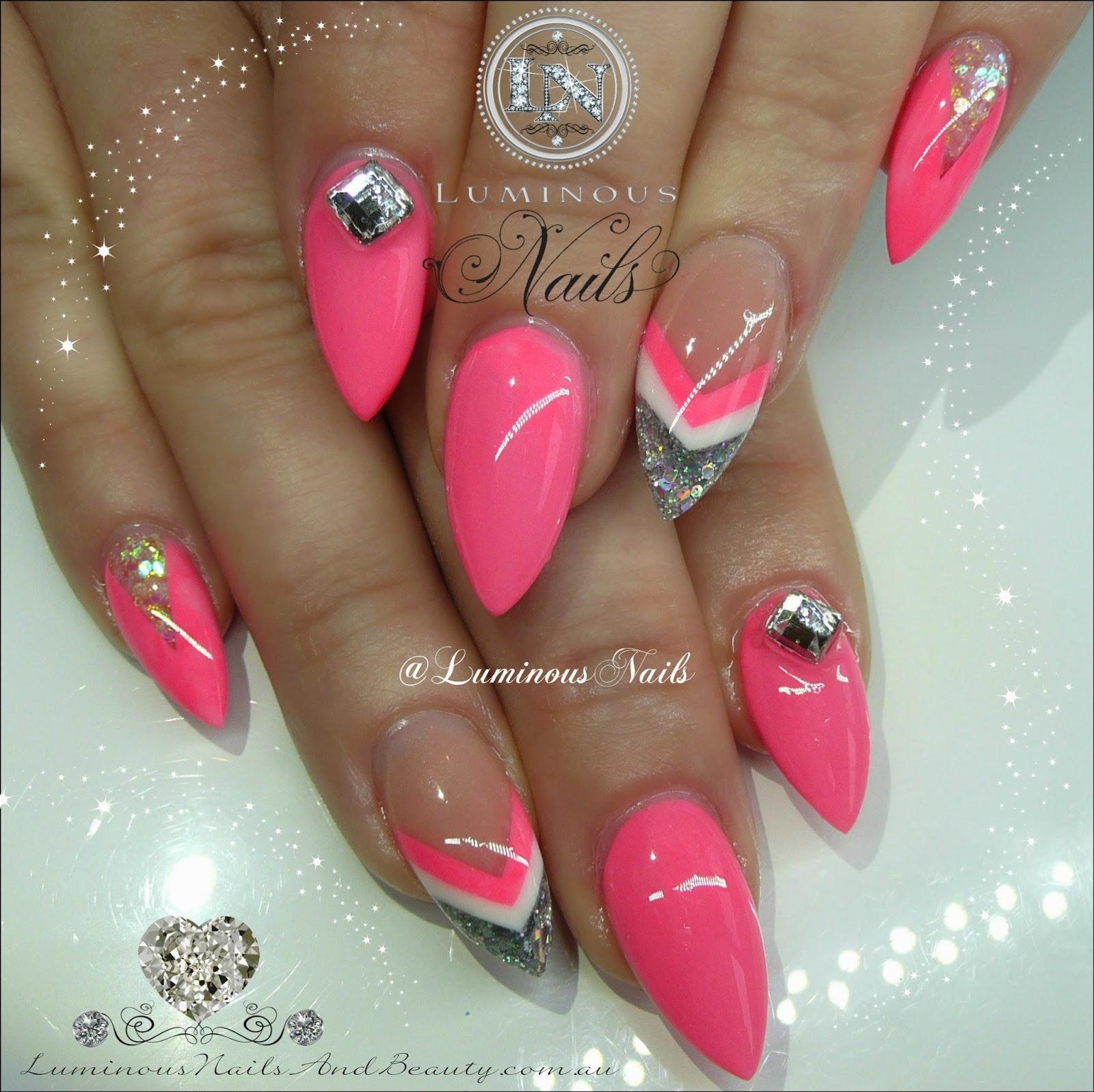 Pink and silver nails - Hot Pink Nails With Gold Glitter Vvvtinfo Nail Art Hot Pink