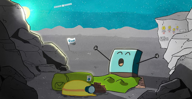 ESA's cartoon showing Philae's waking up. Credit: ESA