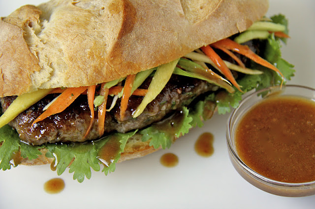 Overhead photo of a Grilled Vietnamese Banh Mi sandwich.