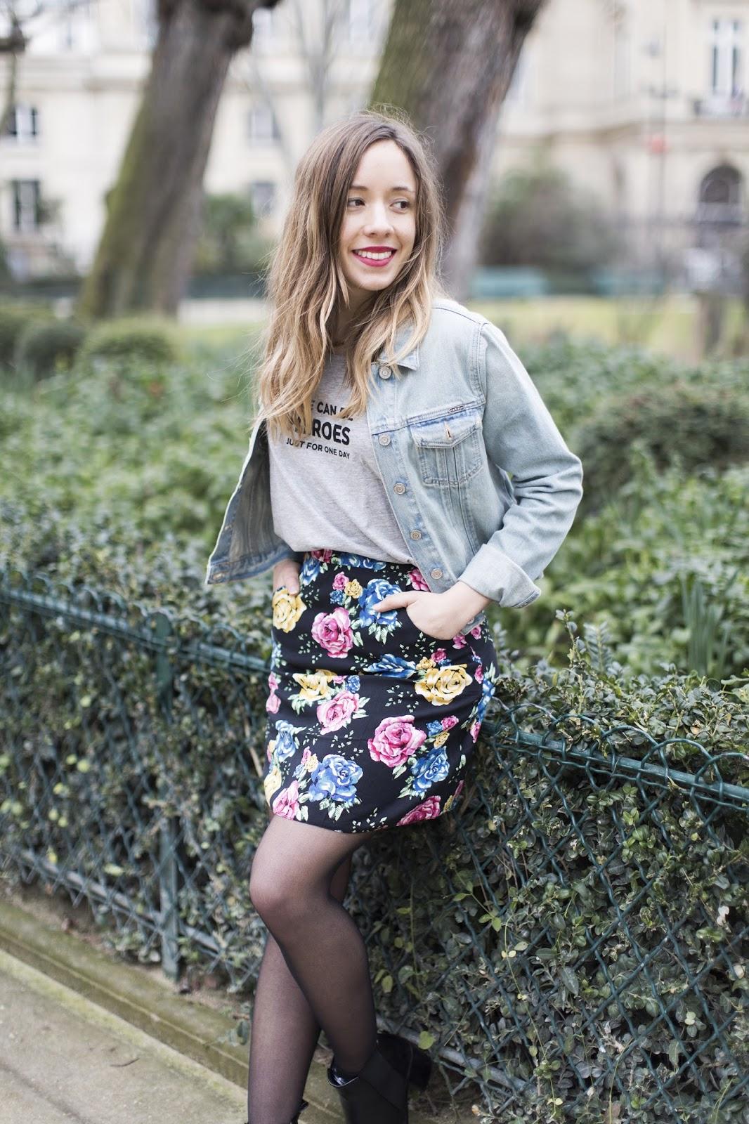 Tenue mode printemps 2015 jupe fleurs
