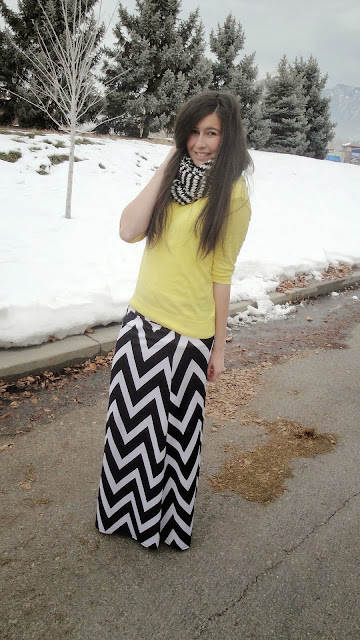 chevron skirt, chevron, black and white, black and white skirt, windsor store, windsor style, windsorstore, yellow and black, chevron scarf, deb shops, yellow sweater, jcrew, jcrew factory,