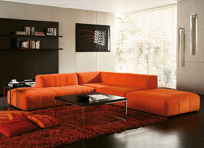 Modern Living Rooms Ideas on Modern House  Ideas Of Orange Modern Living Room Decoration
