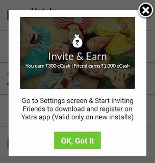 yatra invite and earn