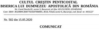 Cultul Creștin Penticostal din România 🔴 COMUNICAT