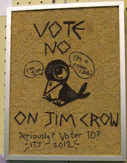 vote No on Jim Crow with a cartoon black crow
