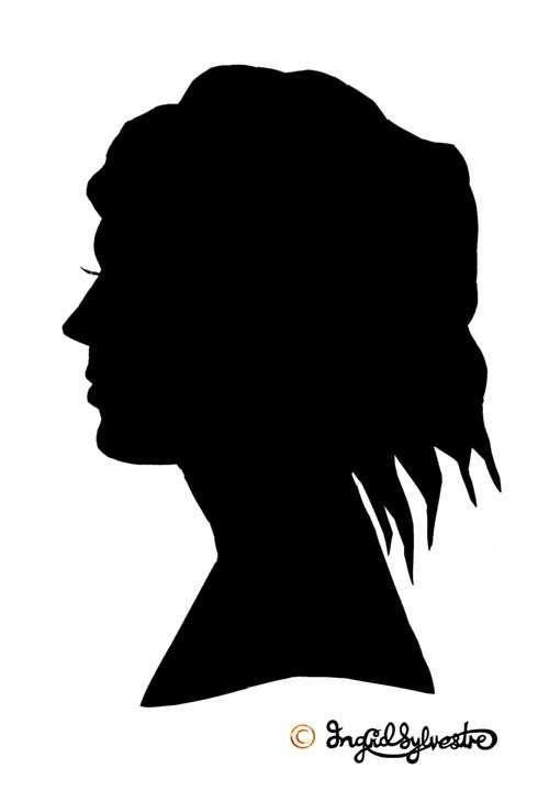 Silhouettes hand cut in 3 - 5 minutes at weddings, parties, corporate events, launches by UK silhouette artist Ingrid Sylvestre