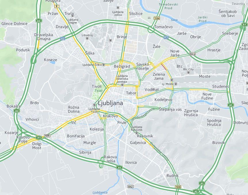 Live traffic (Here.com) for Slovenia