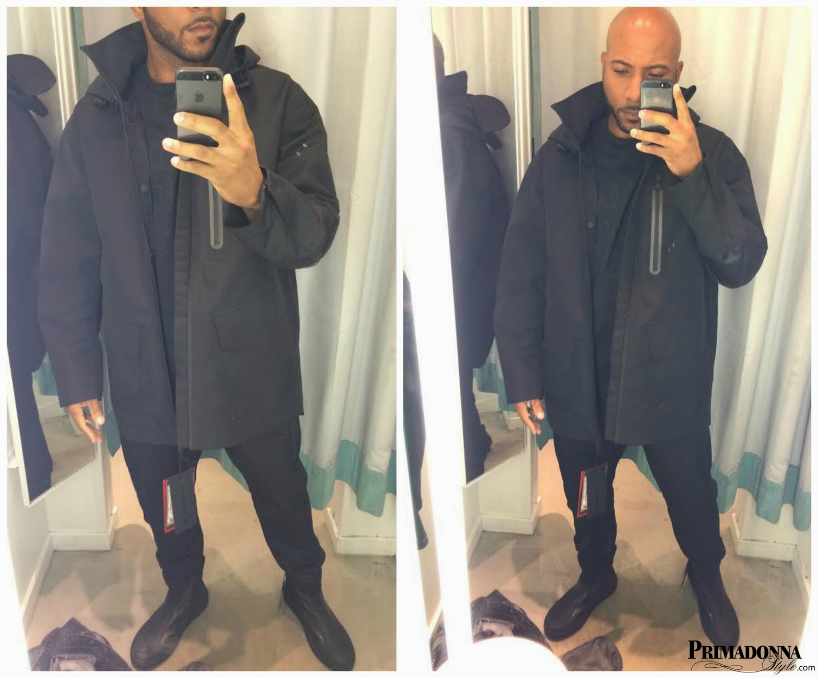 Alexander Wang for H&M Parka with Down Vest,  T-Shirt, Tapered Jeans, and Leather High Tops