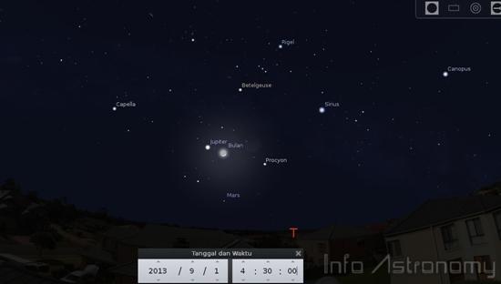 Lihat Bulan, Jupiter dan Mars Berdekatan Akhir Pekan Ini