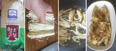 Zubereitung Enoki mit Teriyaki-Sauce