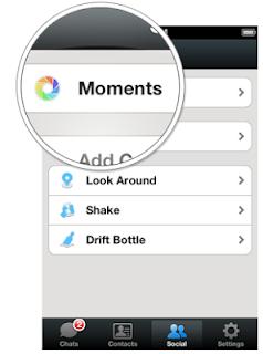 cara menggunakan moments di wechat
