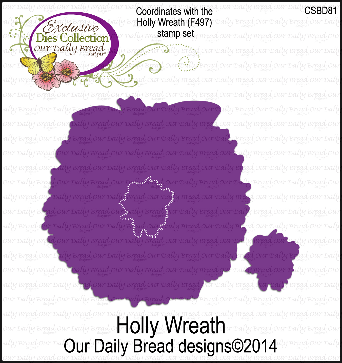 ODBD Custom Holly Wreath Die
