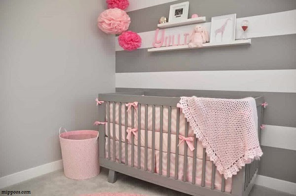D co chambre b b fille gris rose b b et d coration for Idee de chambre bebe fille