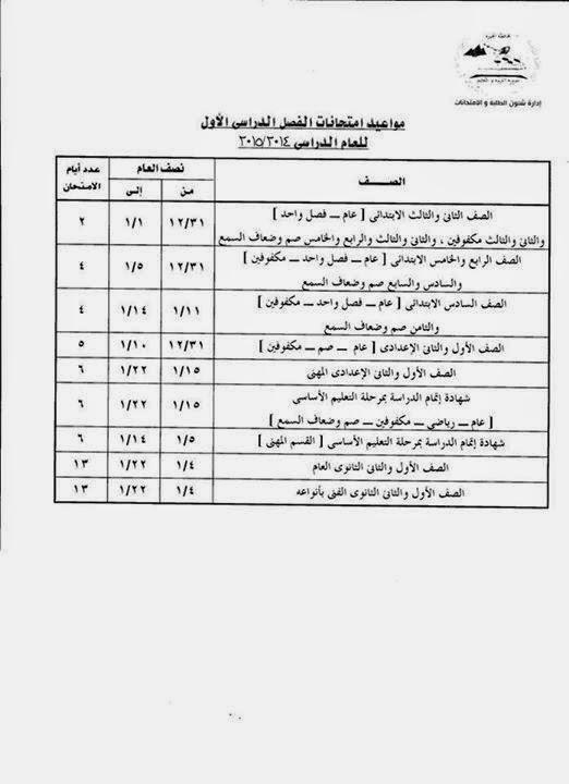 جدول مواعيد امتحانات الابتدائي والاعدادي والثانوي الجيزة 2015 نصف العام