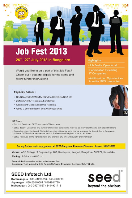 """SEED Infotech"" Hiring Freshers As Junior Level @ Bangalore"