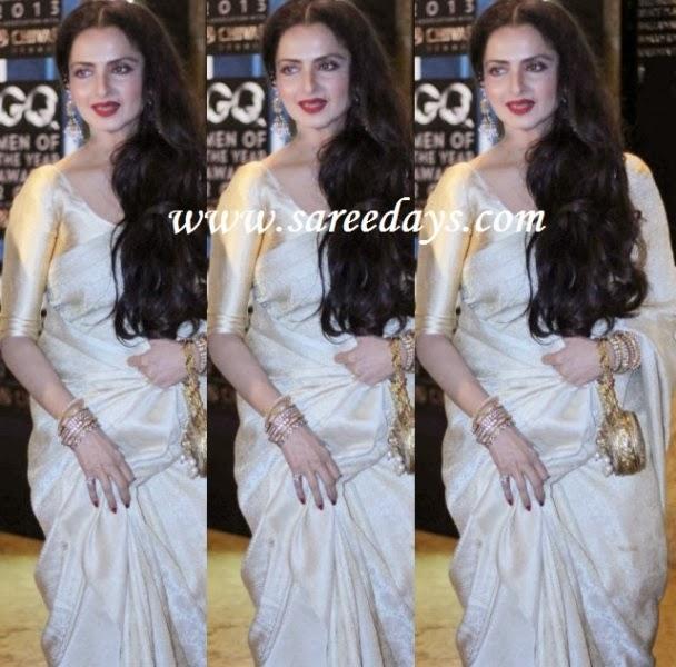 Latest saree designs rekha in off white traditional silk saree checkout rekha in off white traditional silk saree with self work and paired with half sleeves shimmer blouse altavistaventures Images