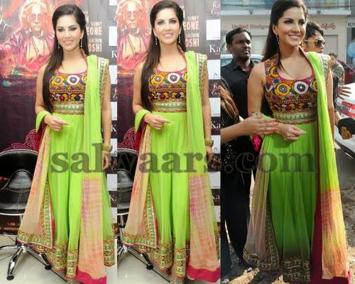 Sunny Leone Green Salwar Kameez