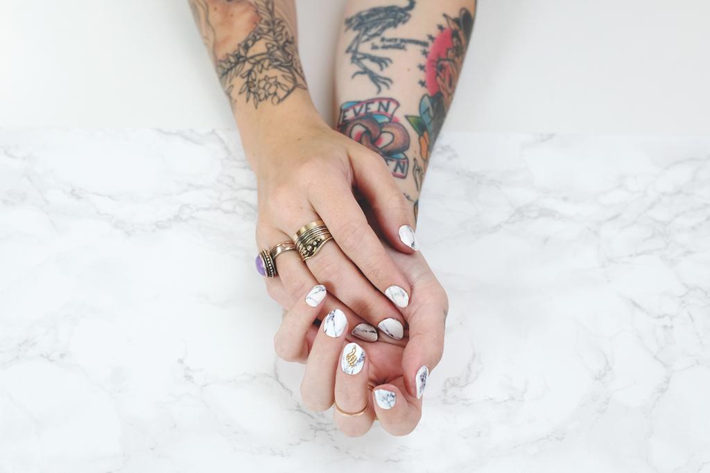 NCLA Nails Ashford White Marble Manicure - Mini Penny Blog
