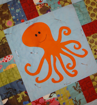 mostly-quilted octopus ready for stage two quilting
