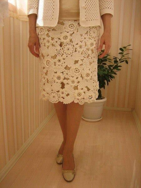 Как связать кружева для юбки