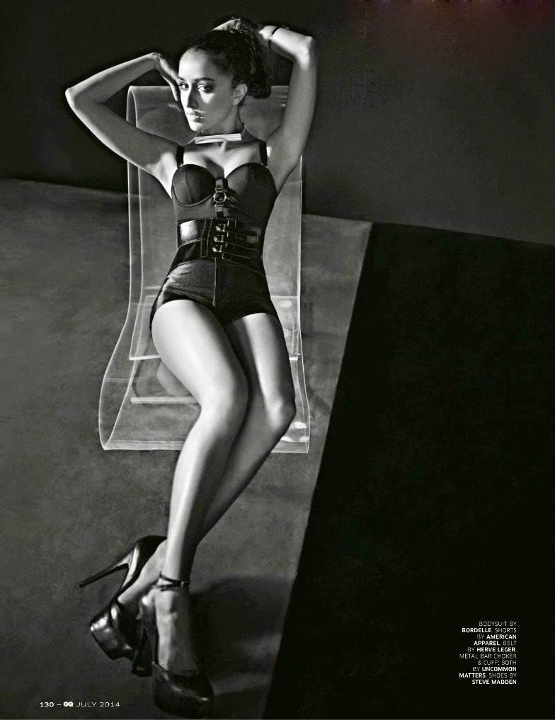 Shraddha Kapoor showing her legs in sexy corset in GQ India Magazine July 2014 photo