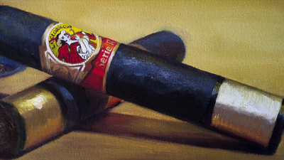 Detail of oil painting with La Gloria Cubana Serie R cigars