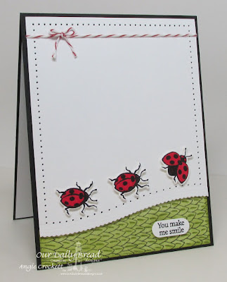 ODBD Custom Leafy Edged Borders Dies, ODBD Custom Butterfly and Bugs Dies, ODBD Butterfly and Bugs, ODBD Mini-tag Sentiments, Card Designer Angie Crockett