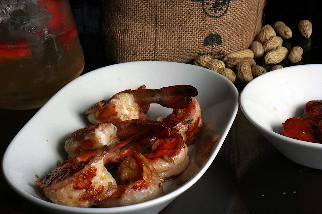 Chili King Prawns and Grilled Garlic Chargrilled Chorizo Sausage